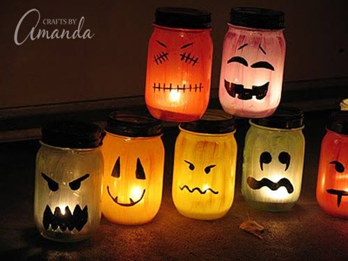 i love all the colors full tutorial on how to make these awesome halloween luminaries - How To Make Halloween Lanterns