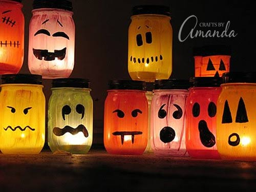Halloween luminaries spooky colorful painted jars - Decoration maison halloween ...