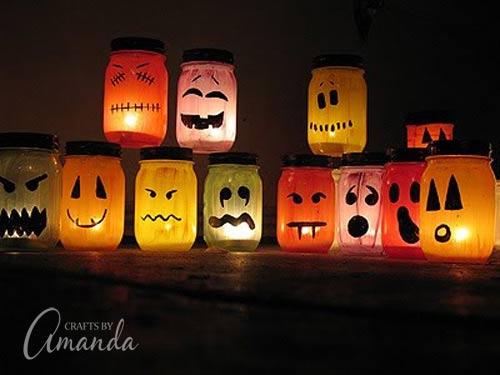 halloween luminaries spooky colorful painted jars. Black Bedroom Furniture Sets. Home Design Ideas