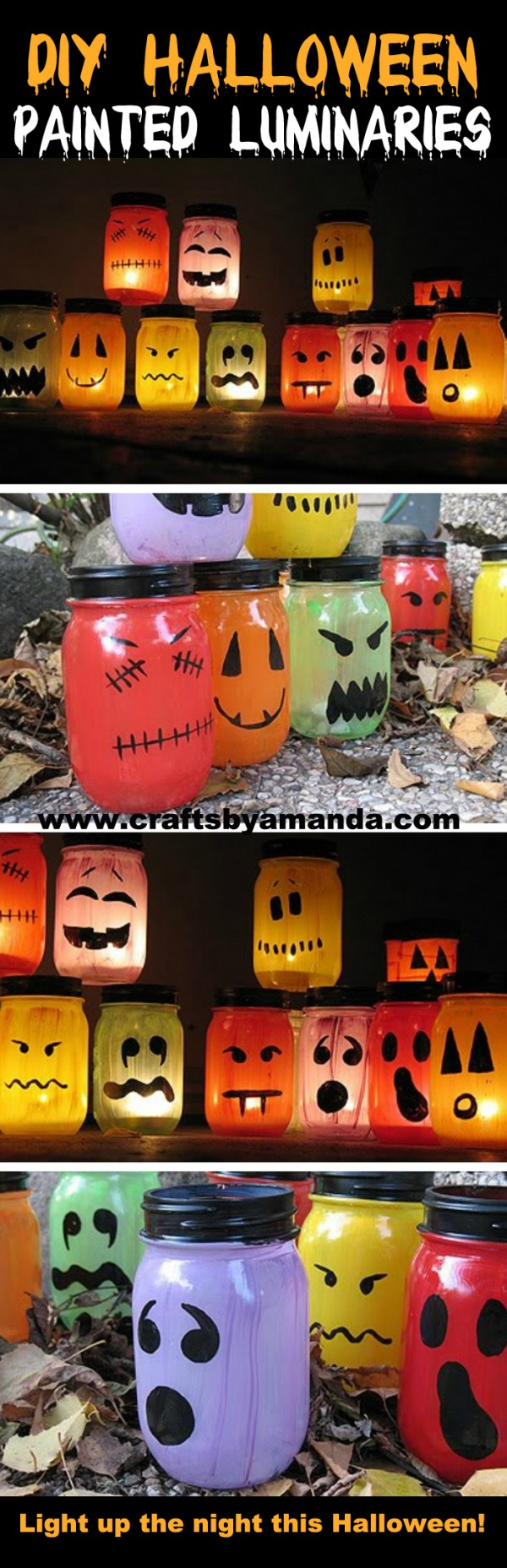 Halloween luminaries spooky colorful painted jars full tutorial on how to make these awesome luminaries ghouls for halloween i love all solutioingenieria