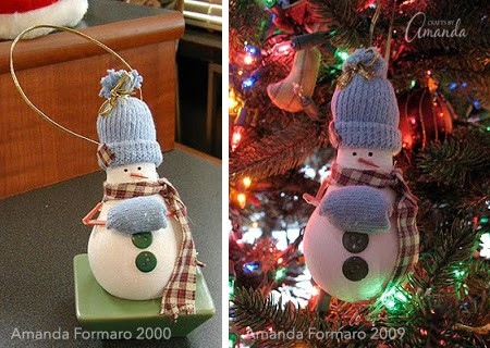 The photo on the left was taken right after I made it and the photo on the right was taken in 2009 when I hung it on my tree. I'll take another one this year when I put my tree up.