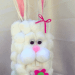 This cotton ball container bunny is an adorable Easter craft and is fun for all ages! Make this bunny using a potato chip canister or anything similar.