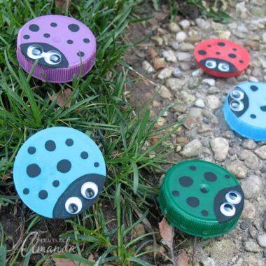 Super cute plastic lid ladybugs