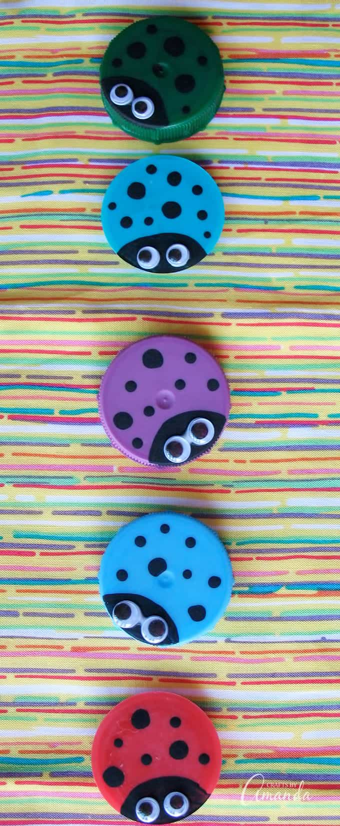 This plastic lid ladybugs craft is a great project to do with kids, or as a group project.