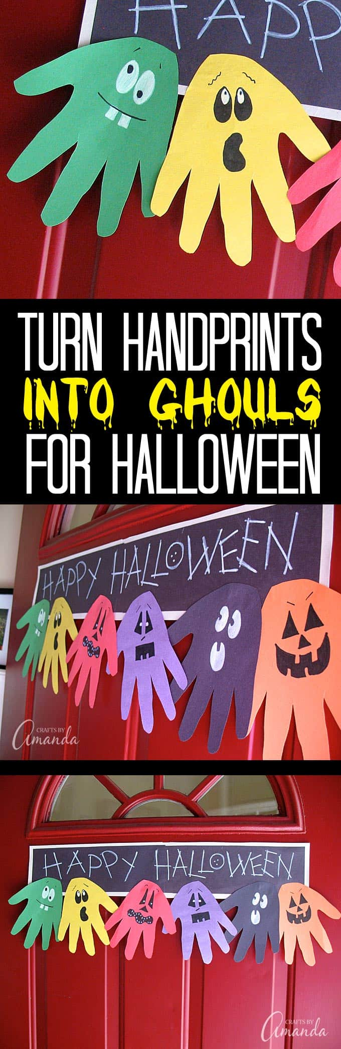Make this adorable Halloween Handprint Ghoul Banner with the kids to hang on the door! A great way to greet trick or treaters. Would be a fun troop or classroom project too!