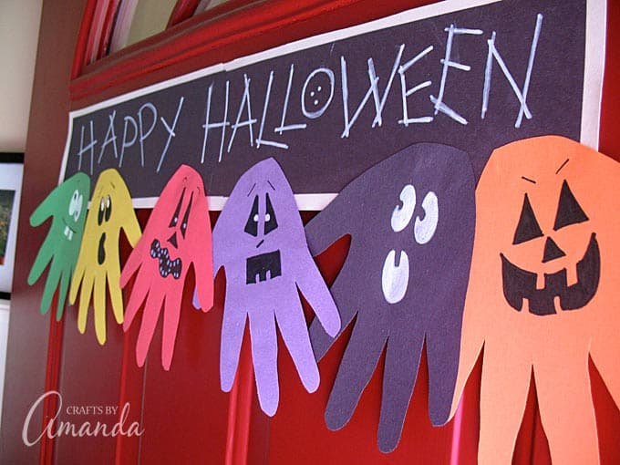 make this adorable halloween handprint ghoul banner with the kids to hang on the door - Halloween Crafts For The Classroom