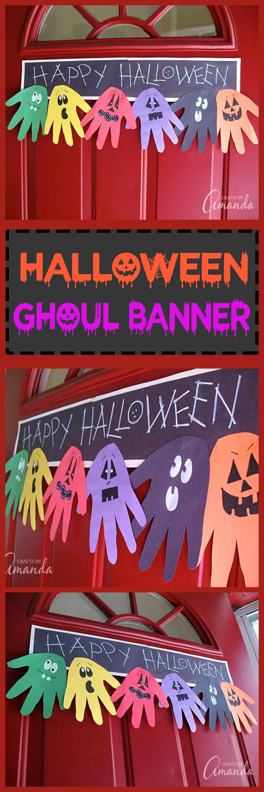 This Halloween Handprint Ghoul Banner is perfect for hanging on your door to greet trick or treaters this Halloween! So fun for the kids to make.