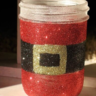 How to make a gorgeous Glittery Santa's Belly Jar with an empty recycled jar or a mason jar and glitter!