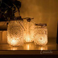 burlap doily luminaries