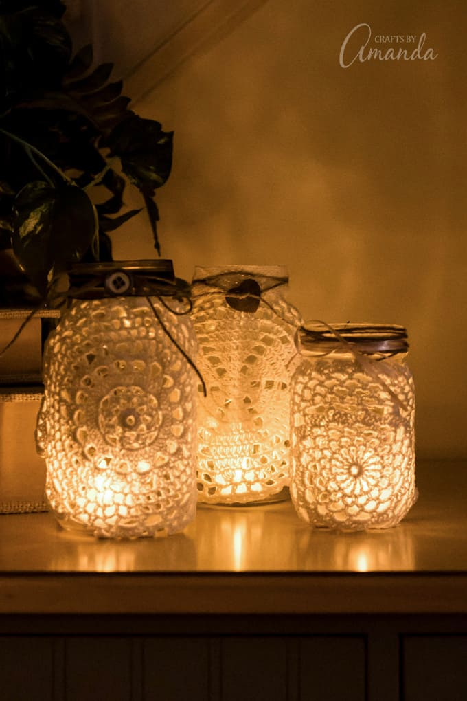 doily luminaries on table
