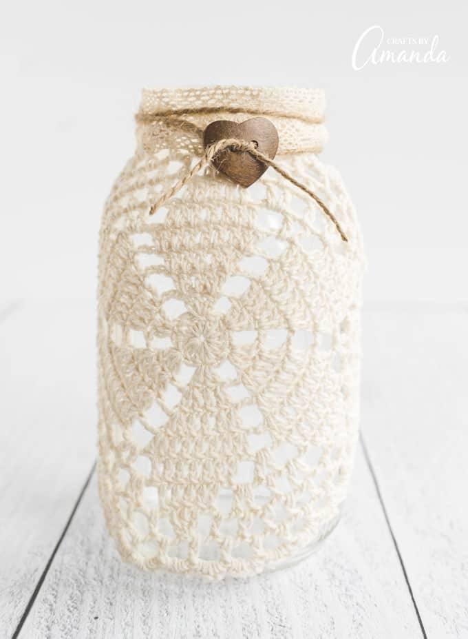beautiful doily luminary jar