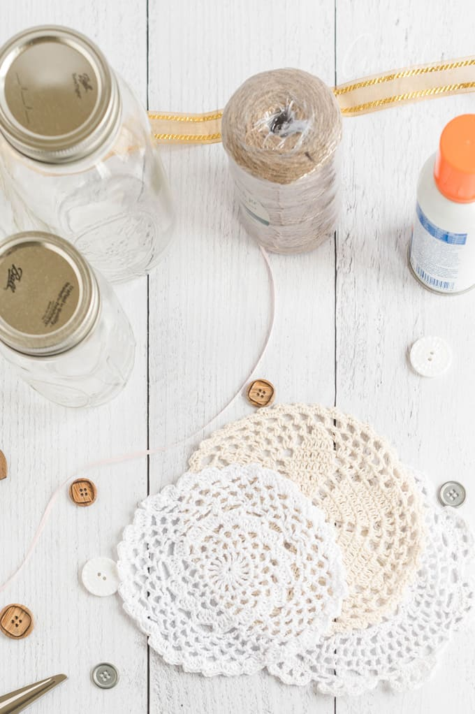 supplies for doily luminaries