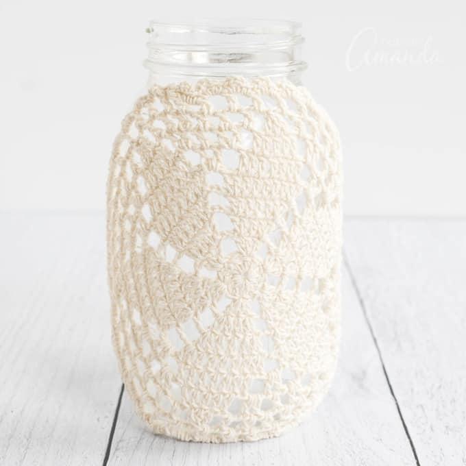 doily on jar