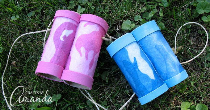 Pink and blue cardboard tube binoculars