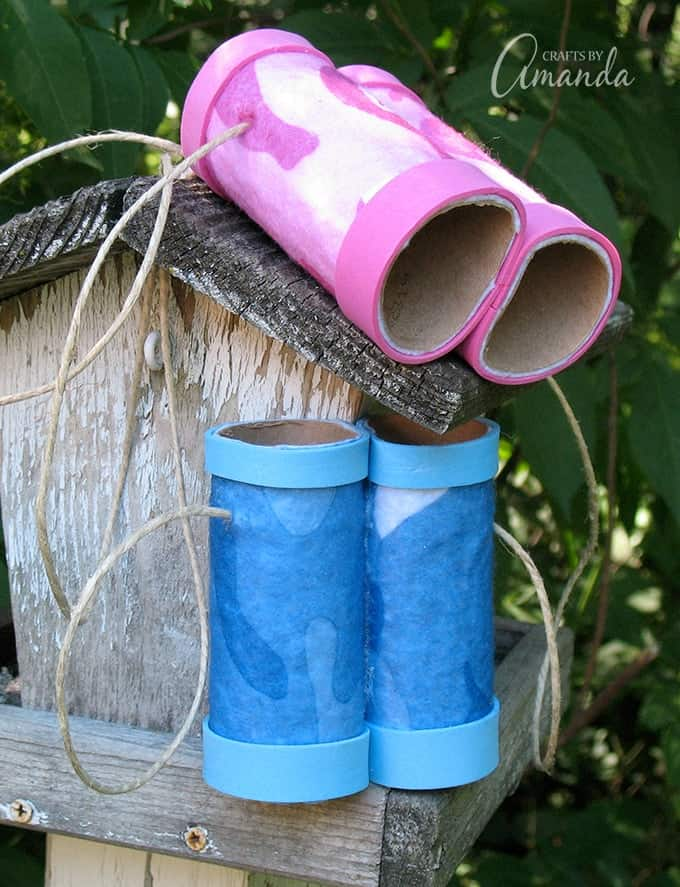 Binoculars made from cardboard tubes