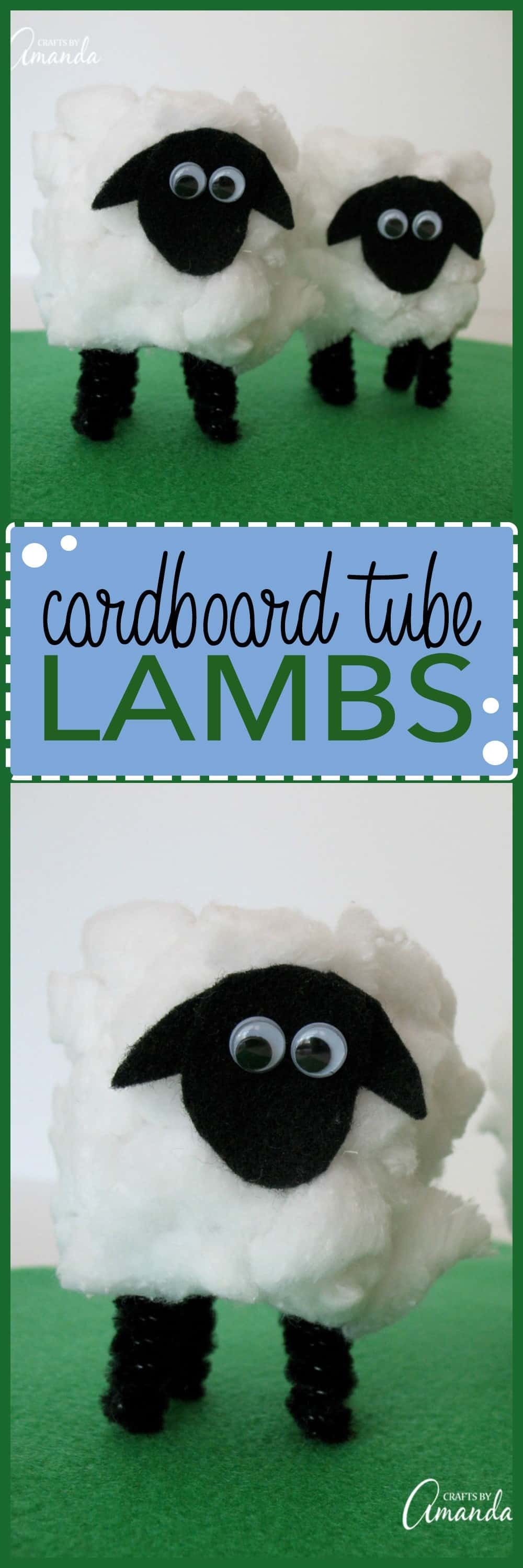 These super cute cardboard tube lambs are simple and fun! These fuzzy and adorable creations are the perfect Easter kids craft, and it's one they will love!