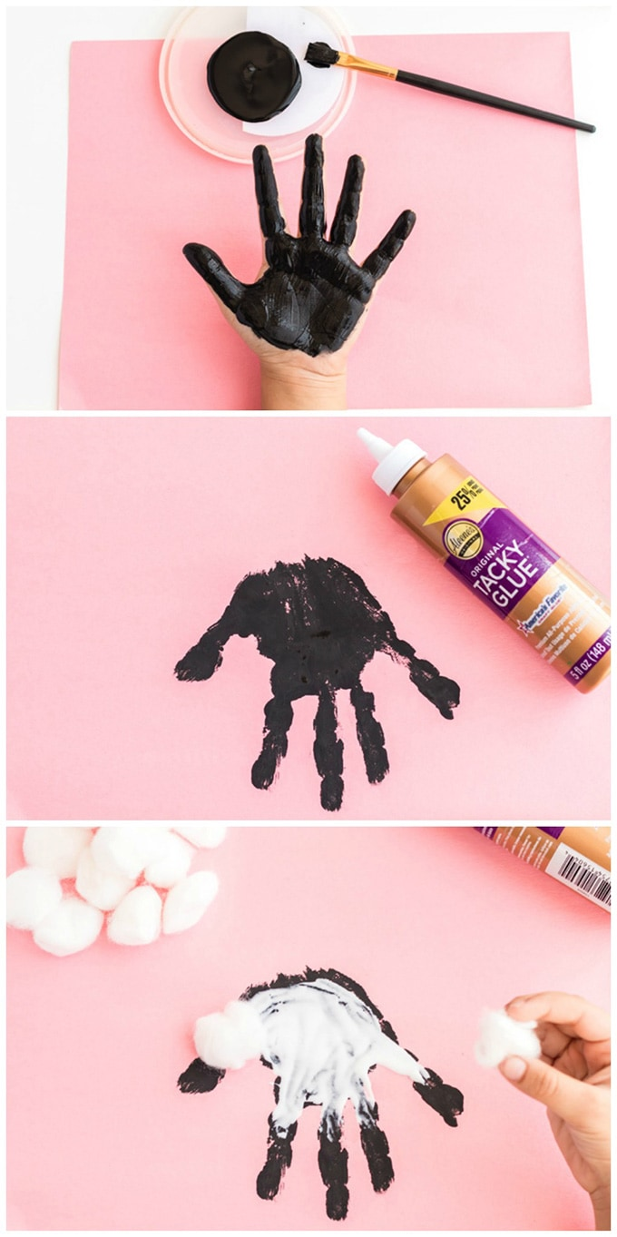 adding black handprint to paper