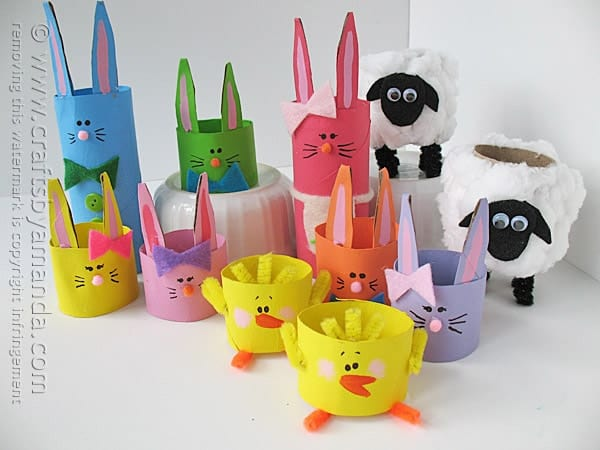 Cardboard Tube Easter Characters by @amandaformaro Crafts by Amanda