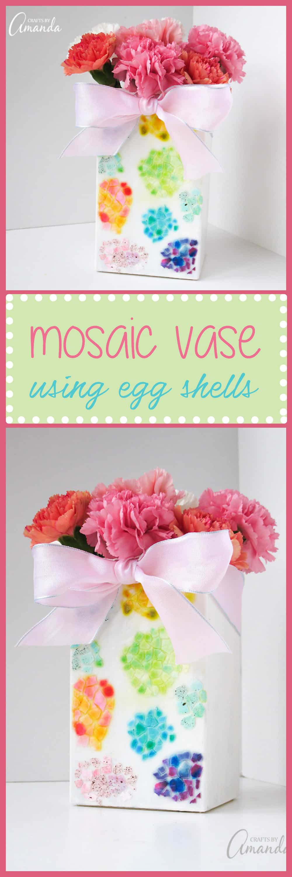 This egg shell mosaic vase is a pretty way to display those colorful Easter egg shells you created! Another fun Easter adult craft!