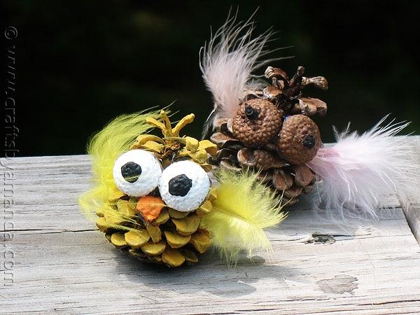 Pine Cone Owl craft by CraftsbyAmanda.com @amandaformaro
