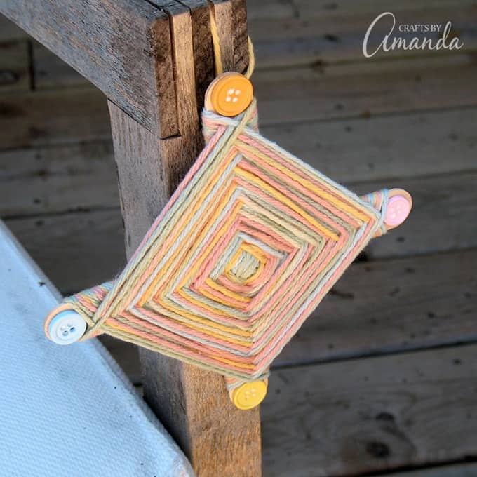 gods eye craft - classic summer camp project