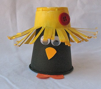 Plastic cup crow a fun fall crow craft for kids - Crafts made from plastic cups ...