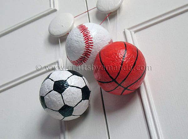 Sports ball ornaments crafts by amanda for Crafts with styrofoam balls for kids