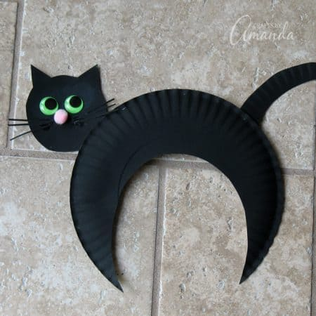 Free pattern - how to make a paper plate black cat craft