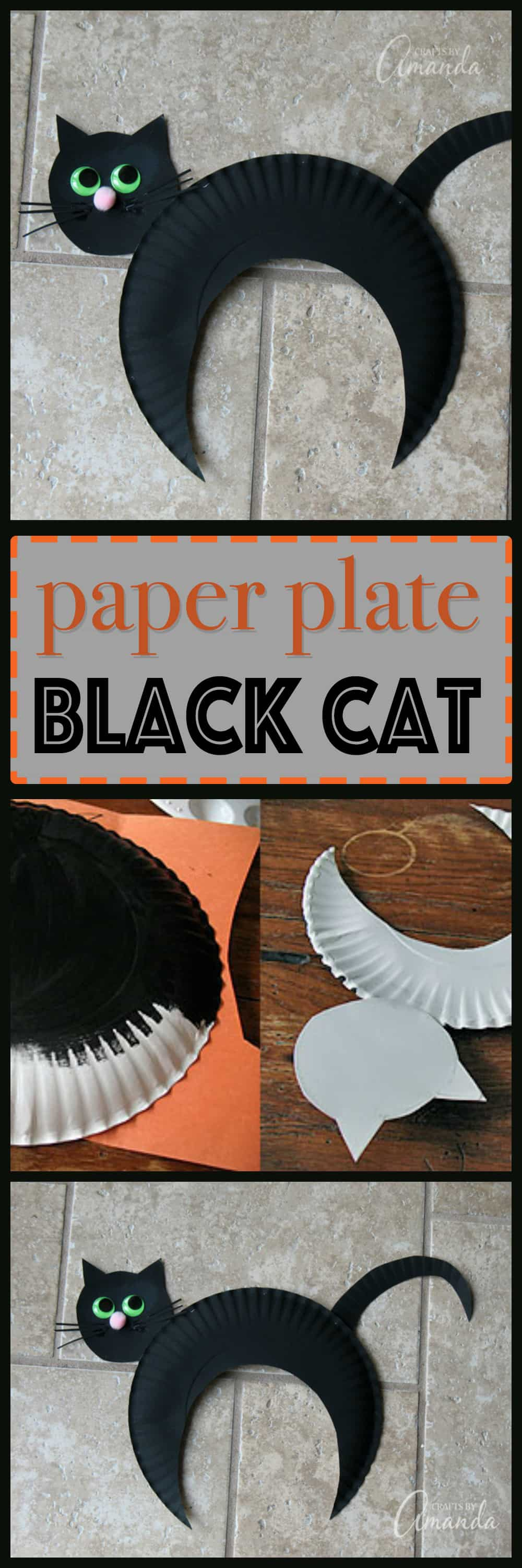 black cat paper craft paper plate black cat how to make this kid 3458