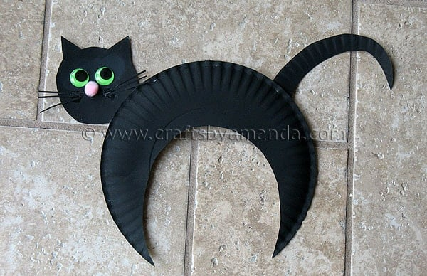 Paper plate black cat fun halloween kid 39 s craft for Cat crafts for toddlers