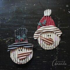Snowman Ornaments from Corrugated Cardboard