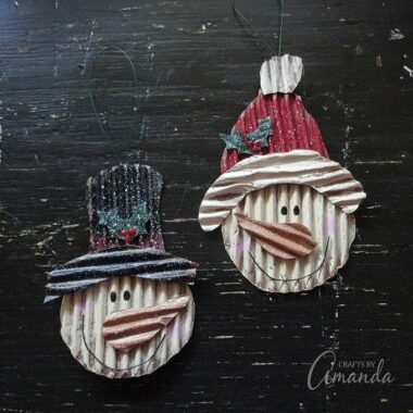 Snowman Ornaments from Corrugated Cardboard