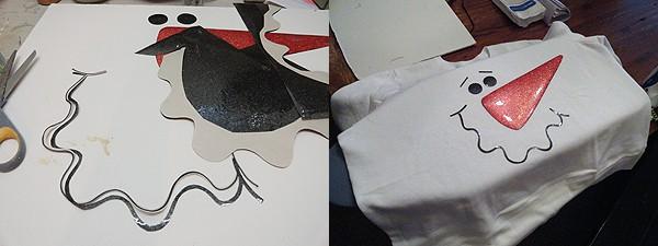 Iron On Glitter Snowman Shirt