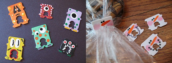 Bread Tag Monsters and Snowmen