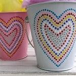 Polka Dotted Heart Valentine Buckets