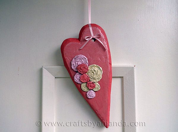 Valentine Rosette Heart Door Decoration