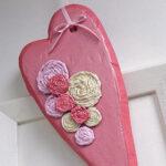 Valentine Rosette Heart Door Decoration