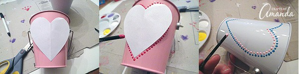The process is really simple for these Valentine treat buckets, it just takes a little patience. Cut out a heart shape from a piece of paper and place it in the bucket.