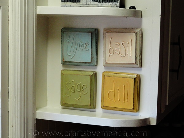 Rustic Faux Embossed Herb Plaques