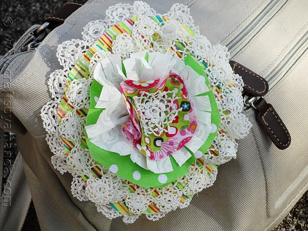 Doily & Fabric Flower Pin