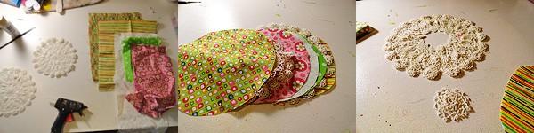 Doily & Fabric Flower Pin