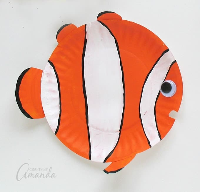 Orange striped clown paper plate fish