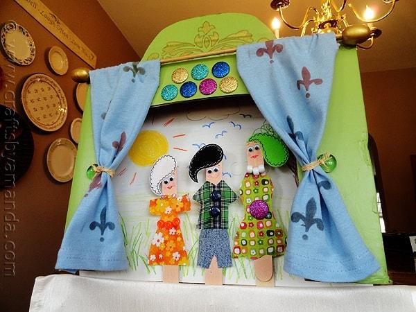 Craft Stick Puppet Theater Crafts By Amanda