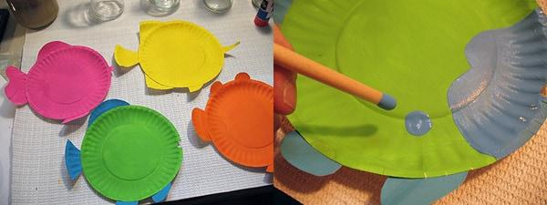 Бумажная тарелка тропическая рыба