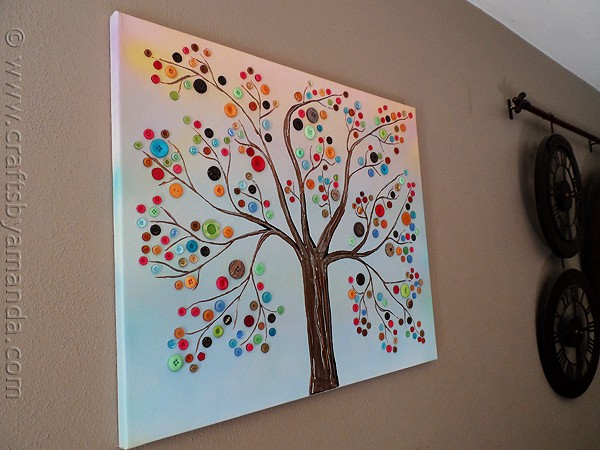Button tree a beautiful canvas project full of vibrant colors make this beautiful button tree for your home this button tree tutorial shows you step solutioingenieria Choice Image
