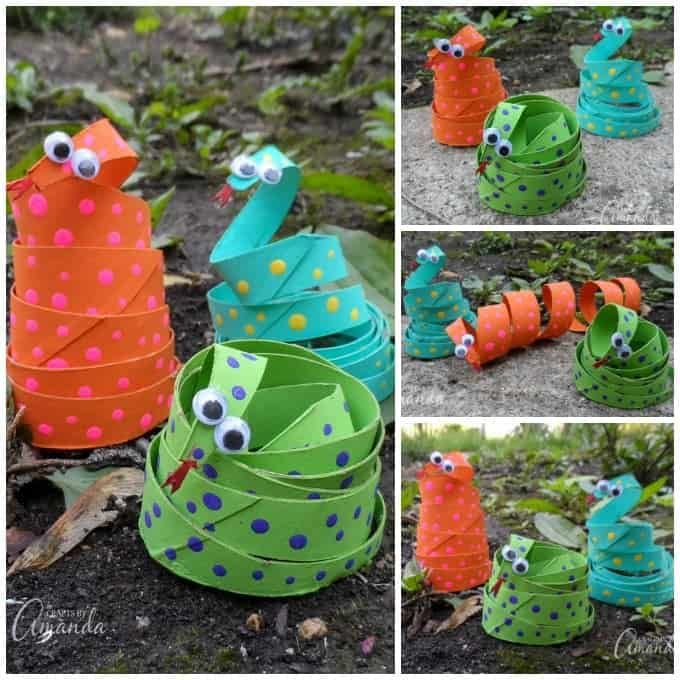 Cardboard Tube Coiled Snakes and tons of other cardboard tube crafts for kids!