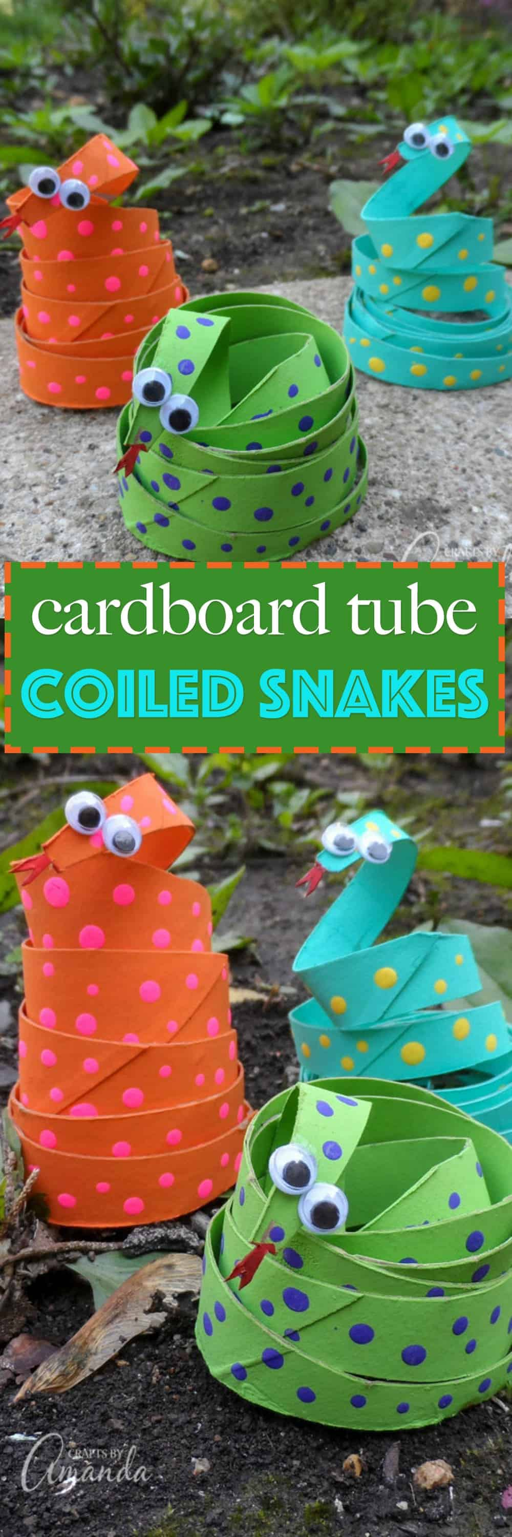 This cardboard tube coiled snakes craft is a great way to teach kids the importance of recycling all while feeding their creative minds.