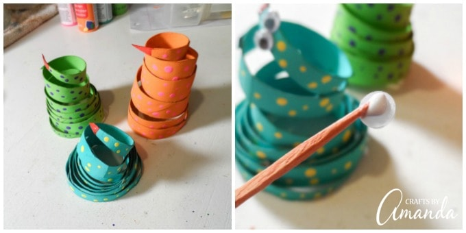 Cardboard Tube Coiled Snakes Steps 7 and 8