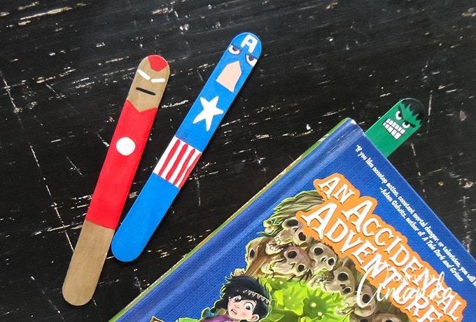 craft stick bookmarks avengers