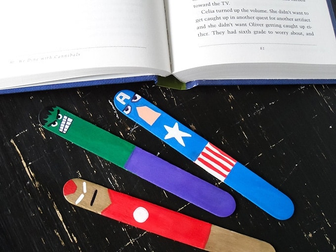 Avengers Bookmarks: superhero craft made from craft sticks